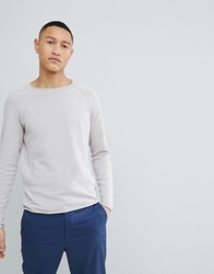 Selected Homme Knitted Jumper With Roll Hem Detail Grey