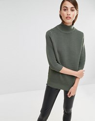 Selected Laua Ribbed Jumper With High Neck Khaki Thyme Green