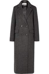 Ganni Double Breasted Checked Wool Blend Coat Gray