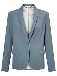 Jigsaw Seersucker Portofino Jacket Blue