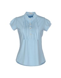 Henry Cotton's Topwear T Shirts Women Sky Blue