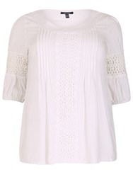 Samya Plus Size Decorative Crochet Detail Top White