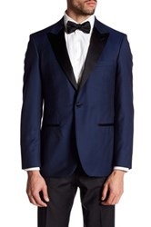 Strong Suit Aston Blue Dobby One Button Peaked Lapel Trim Fit Wool Dinner Jacket