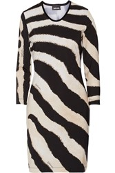 Just Cavalli Zebra Print Velour Trimmed Stretch Jersey Mini Dress Animal Print