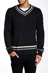 X Ray V Neck Cable Knit Sweater Gray