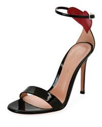 Gianvito Rossi Heart Patent 105Mm Sandal Black Red Black Red