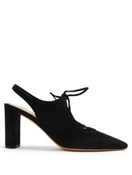 The Row Camil Suede Slingback Pumps Black