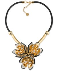Trina Turk Gold Tone Black Leather Multi Crystal And Stone Flower Statement Necklace