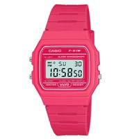 Casio Unisex Core Digital Chronograph Rectangular Dial Rubber Strap Watch Pink