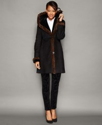 The Fur Vault Mink Trim Hooded Shearling Lamb Coat Ebony Brown