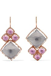 Larkspur And Hawk Sadie Cluster Rose Gold Dipped Quartz Earrings One Size