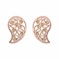 Sonal Bhaskaran Reya Rose Gold Paisley Earrings Yellow Cz Rose Gold Yellow Orange