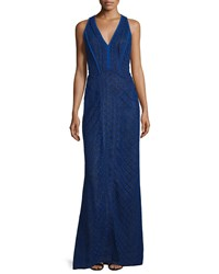 J. Mendel Sleeveless V Neck Lace Overlay Gown Imperial Blue Women's Size 2