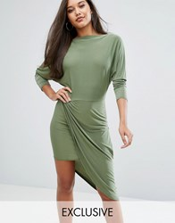Club L Slashed Neck Midi Dress With Wrap Skirt Olive Green
