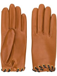 Agnelle Leather Gloves Brown
