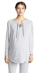 Ingrid And Isabel Lace Up Cocoon Maternity Top Light Heather Grey