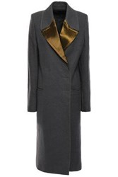 Haider Ackermann Woman Double Breasted Satin Trimmed Brushed Wool Coat Dark Gray