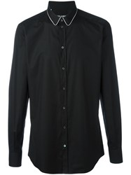 Dolce And Gabbana Contrast Piped Collar Shirt Black