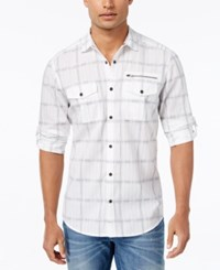 Inc International Concepts Men's Werther Plaid Long Sleeve Shirt Only At Macy's White Combo