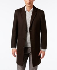 Kenneth Cole Reaction Raburn Wool Blend Over Coat Slim Fit Heather Brown