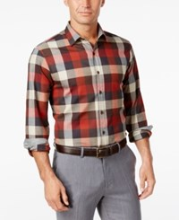 Tasso Elba Men's Plaid Long Sleeve Shirt Classic Fit Rust Combo