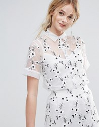 Traffic People Embroidered Shirt With Cami Underlay White