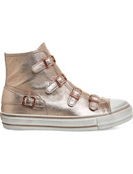 Ash Virgin High Top Leather Trainers Rame Rose Gold Metal