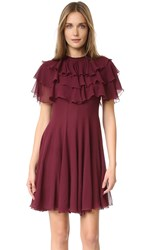 Giambattista Valli Ruffle Dress Burgundy