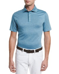 Ermenegildo Zegna Stretch Cotton Polo Shirt Teal Blue