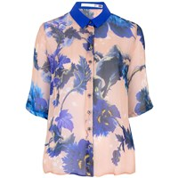 Klements Mildred Shirt In Gothic Floral Blues Print Pink Purple