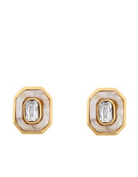 Kara Ross Inset Crystal And Resin Stud Earrings White Gold