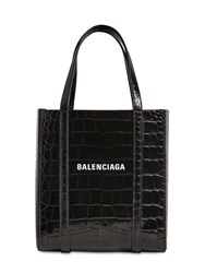 Balenciaga Xxs Every Day Croc Embossed Leather Tote Black