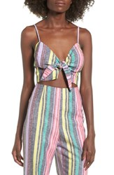 Afrm Kia Tie Front Detail Crop Top Rainbow Stripe