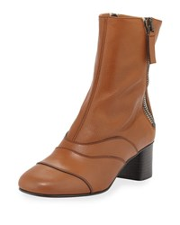 Chloe Side Zip Leather 50Mm Ankle Boot Tan