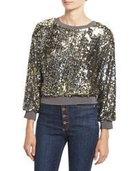 Alice Olivia Smith Sequin Ribbed Trim Cropped Sweatshirt Silver