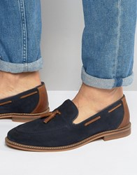 Asos Tassel Loafers In Blue Suede With Natural Sole Navy