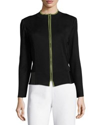Ming Wang 22 L Contrast Trim Knit Jacket Black Green