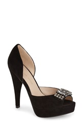 Pelle Moda 'Vaughn' Open Toe Pump Women Black Suede