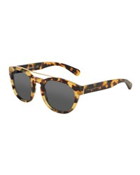 Dolce And Gabbana Square Brow Bar Sunglasses Light Havana