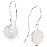 Claudia Bradby Florentine Freshwater Coin Pearl Drop Earrings White