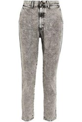 Bassike Faded Mid Rise Straight Leg Jeans Black