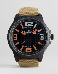 Tokyo Laundry Canvas Military Style Watch Tan Green