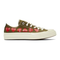 Comme Des Garcons Play Khaki Converse Edition Multiple Hearts Chuck 70 Low Sneakers