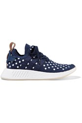 Adidas Originals Nmd R2 Leather Trimmed Polka Dot Primeknit Sneakers Storm Blue