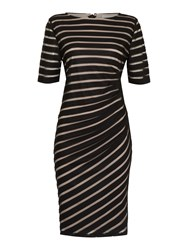 Linea Two Tone Ruched Dress Black