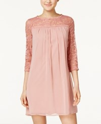As U Wish Juniors' Lace Trim Shift Dress Dark Blush