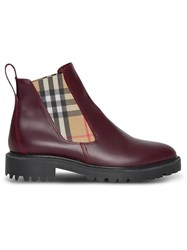 Burberry Vintage Check Detail Leather Chelsea Boots Red