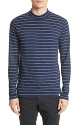 Norse Projects Men's Harald Mock Neck T Shirt Navy