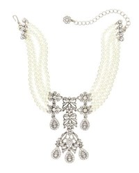 Kenneth Jay Lane Pearly Crystal Choker Statement Necklace White