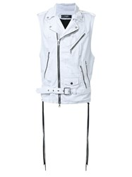 Amiri Sleeveless Biker Jacket White